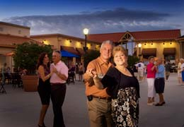 Couples enjoying weekly free entertainment at Circle Square Commons Town Square in Ocala, FL.